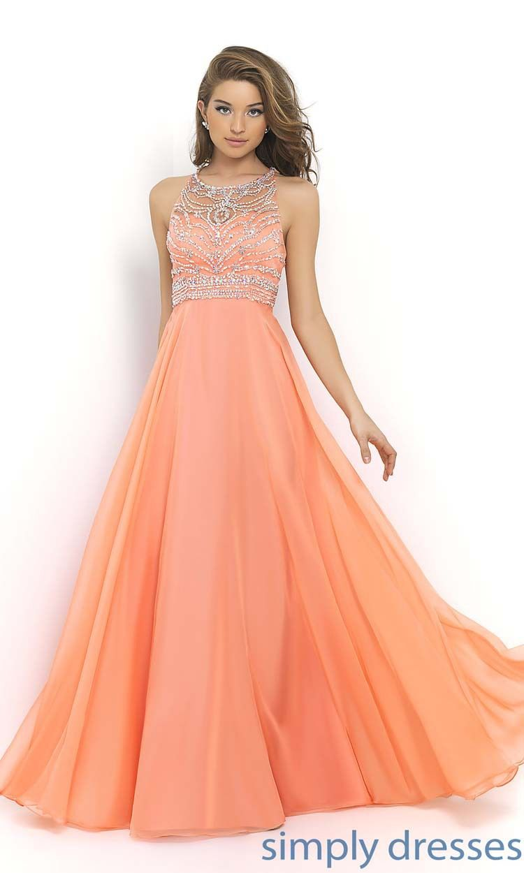 Orange Plain Prom Dresses
