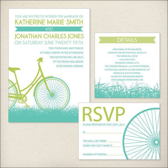 bike ride wedding invitation package by dreamtreedesign on etsy, Wedding invitations