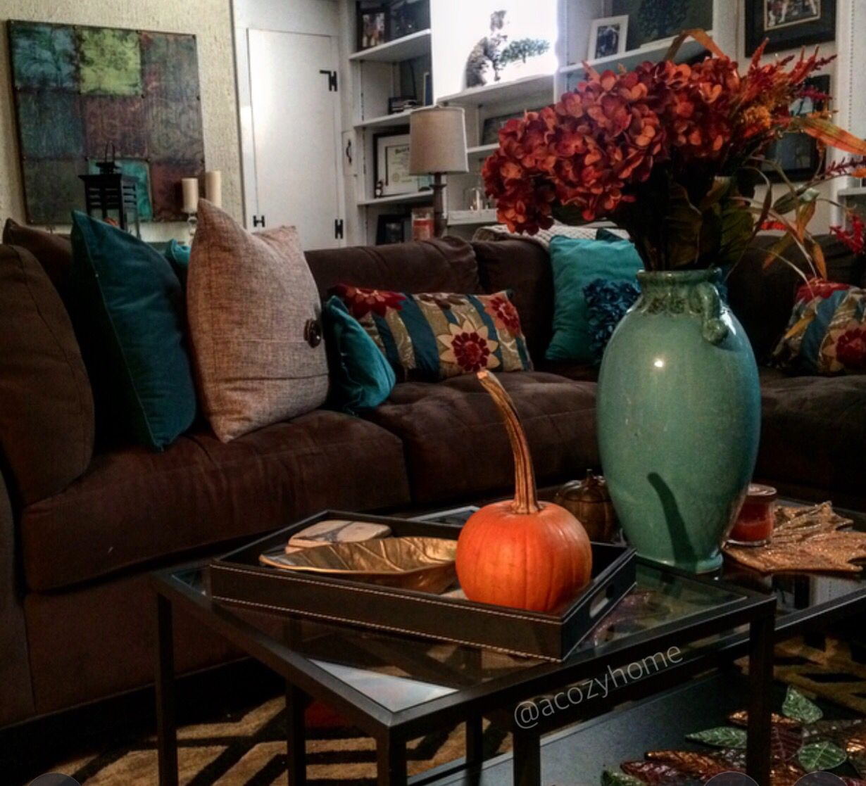 Rustic fall living room decor earth tones fall decor - Brown sofa living room decor ideas ...