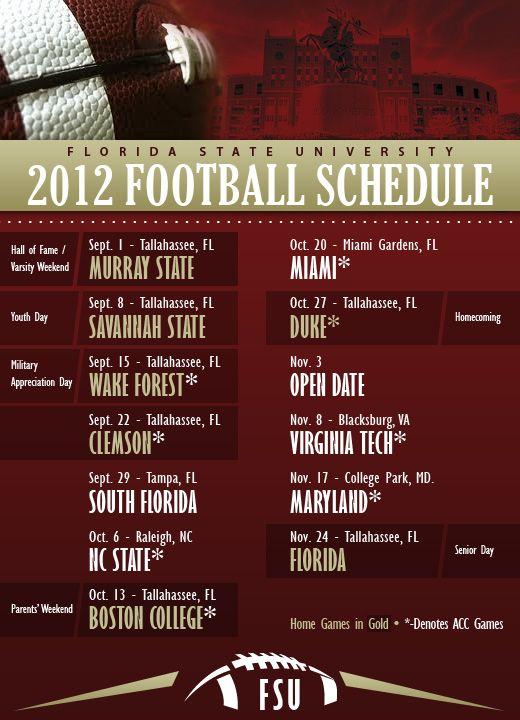 2012 Fsu Football Schedule Game Day Florida State