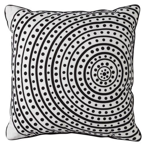"""Room Essentials® Radial Circle Toss Pillow - Black/White (18x18"""") $16.99"""