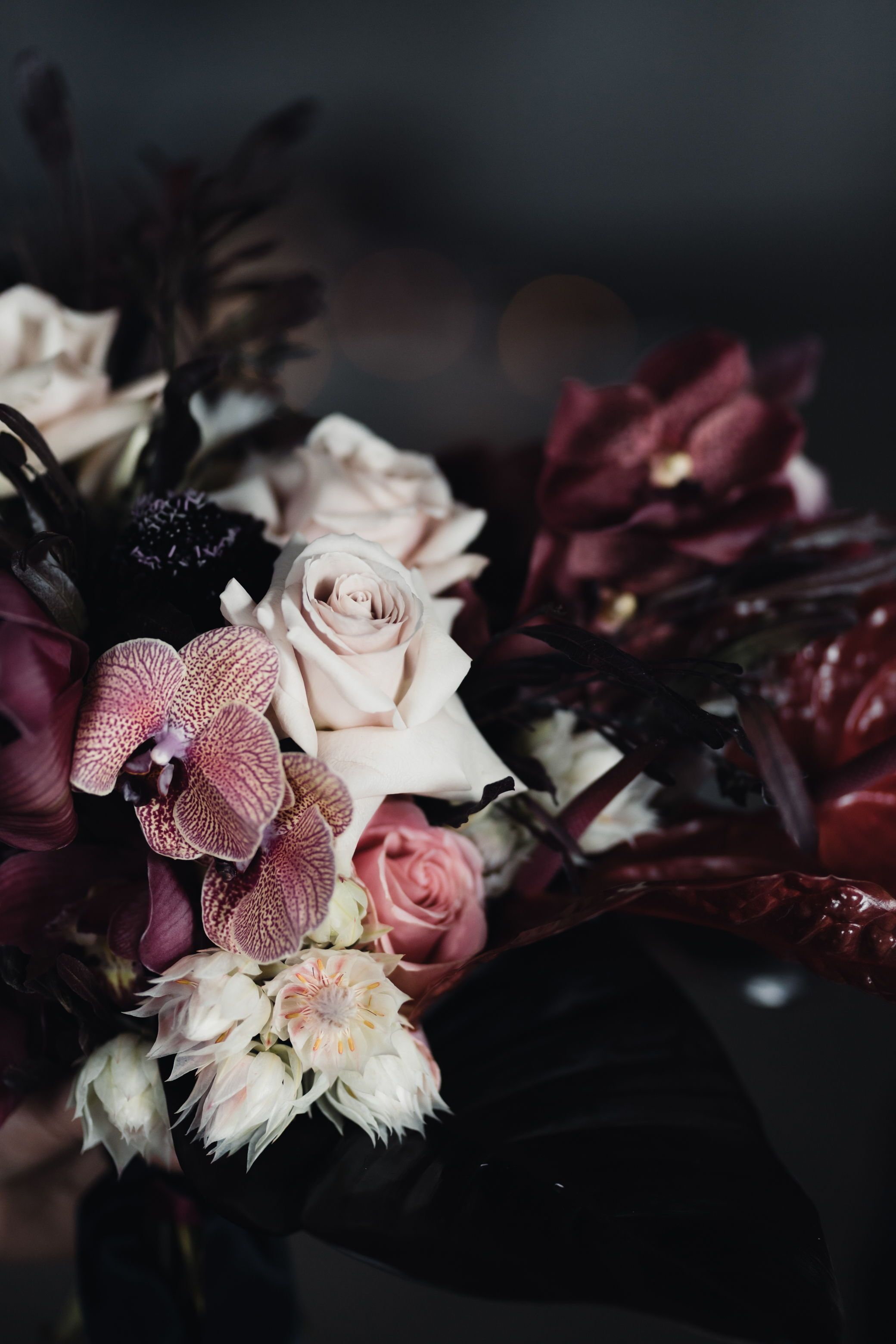 Blush and burgundy bridal bouquet wedding flowers floral design