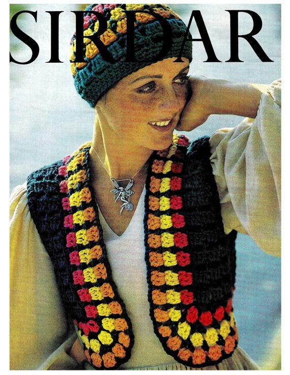 Vintage 70s Crochet Hippie Vest Hat Pdf Pattern Instant