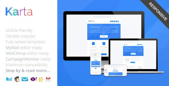 Karta Minimalist Responsive Email Template Pinterest Responsive - Minimal email template