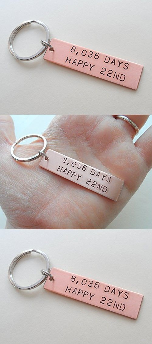 Copper Tag Keychain Hand Stamped With 8 036 Days Hy 22nd For 22 Year Anniversary Gift