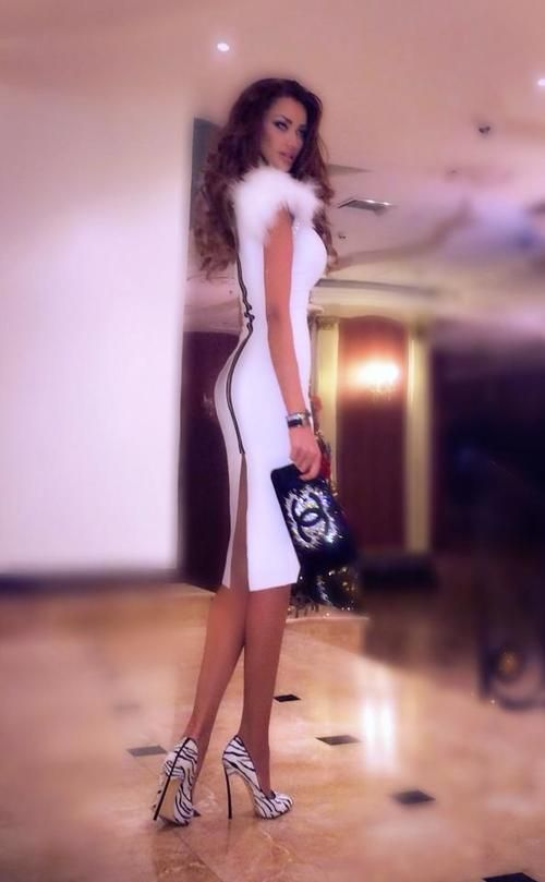 Love the shoes and the dress...minus the poof on the top