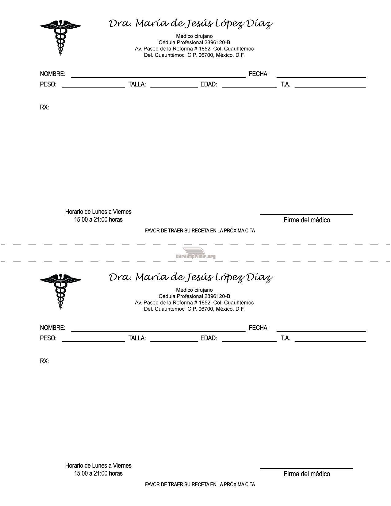 Formato de receta medica para imprimir | GPD | Pinterest | Pine