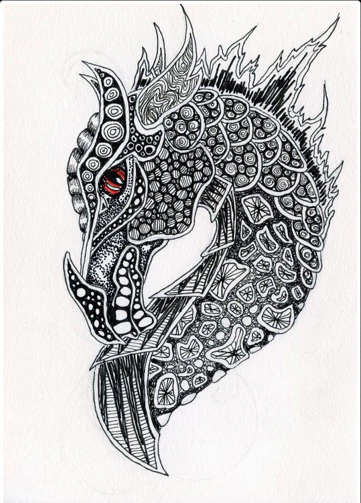 zentangle dragon dragon tattoos tattoo pinteres. Black Bedroom Furniture Sets. Home Design Ideas