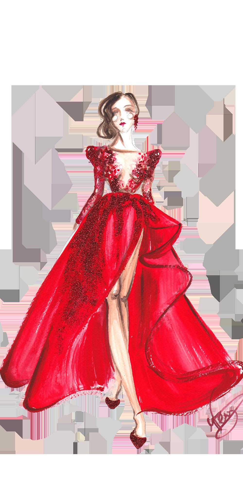 Girl Boss Red Dress Art Painting