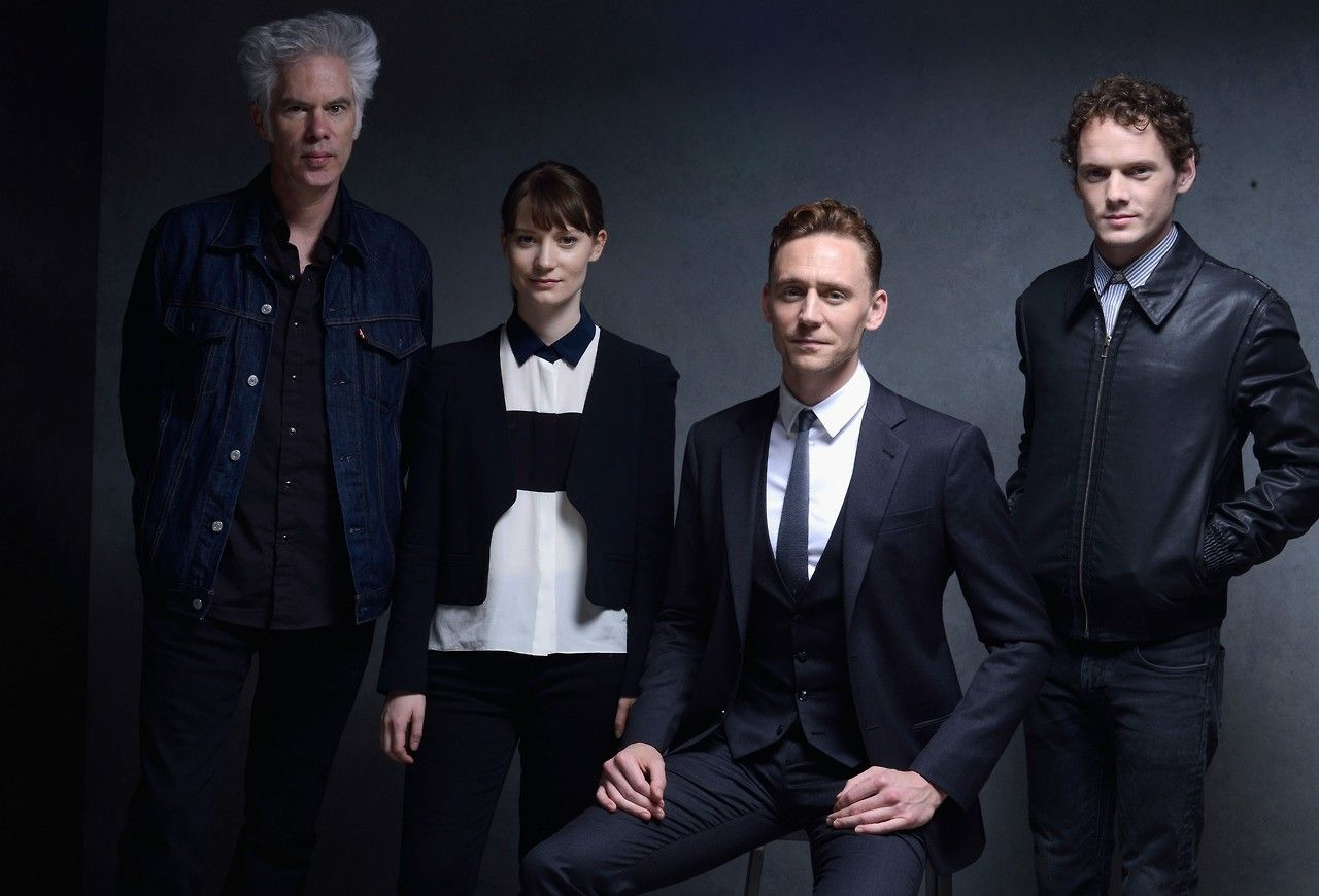 Tom Hiddleston, Anton Yelchin, Mia Wasikowska and director Jim Jarmusch of 'Only Lovers Left Alive' pose at the Guess Portrait Studio during 2013 Toronto International Film Festival on September 6, 2013 in Toronto, Canada