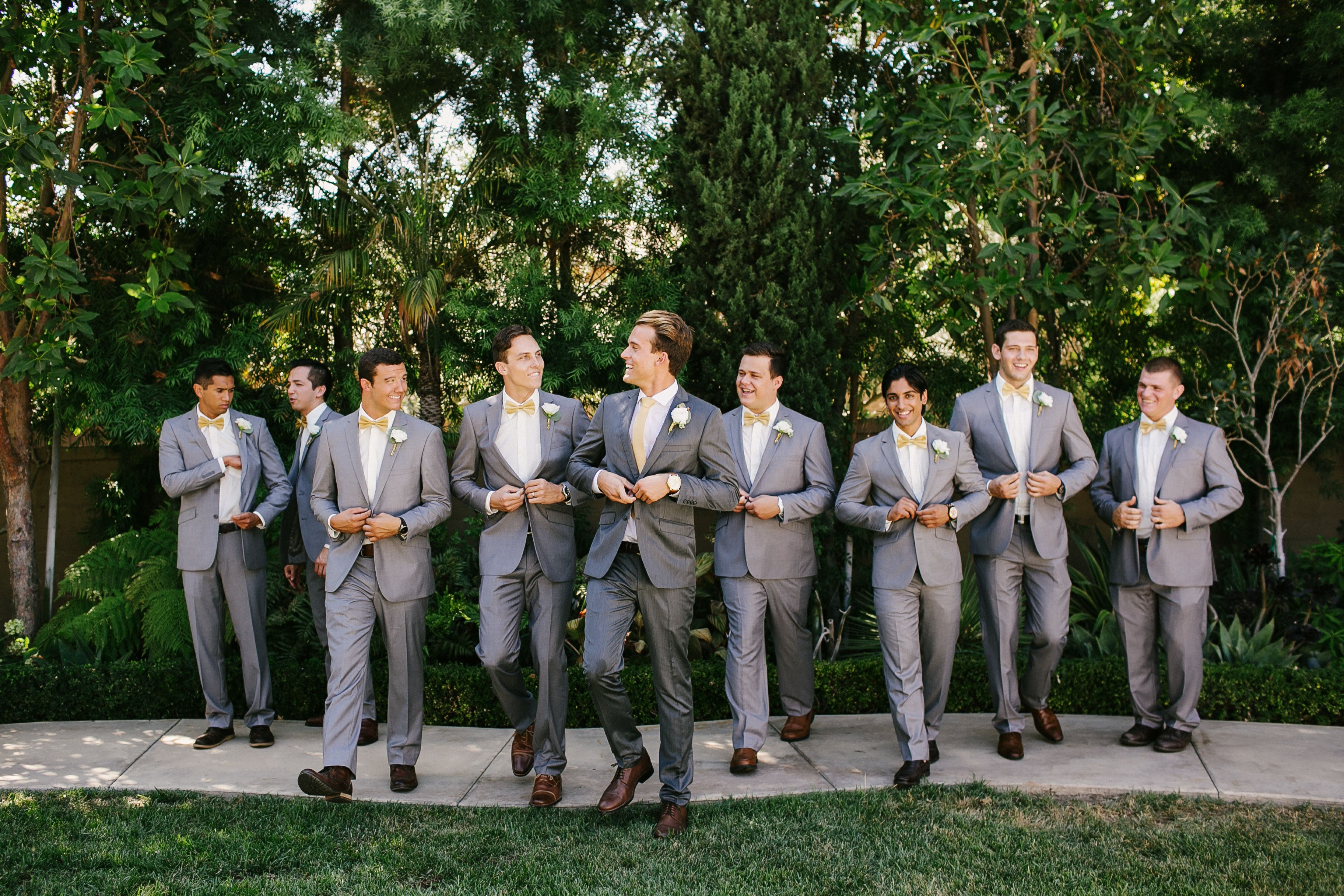 groomsmen grey suits gold bow ties brown shoes | MY wedding :D ...