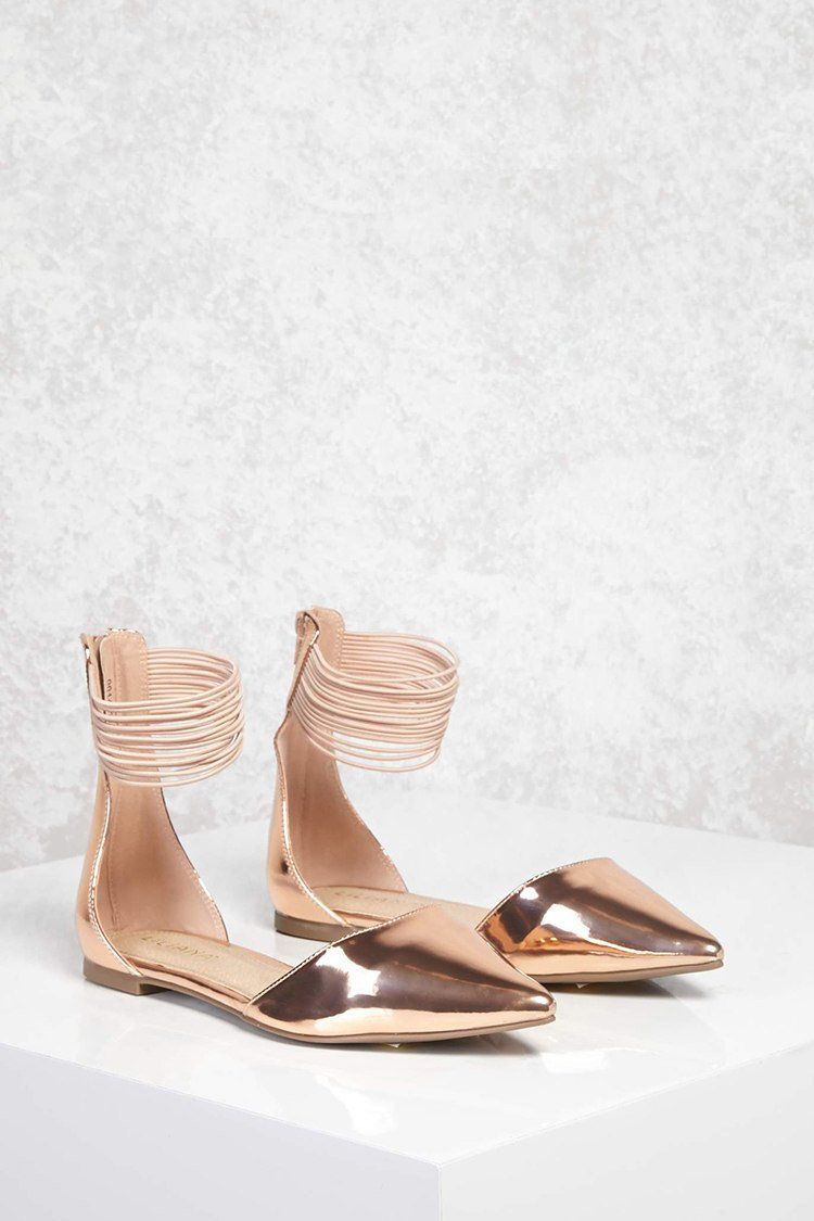 e4438601c602 Metallic Pointed Toe Flats