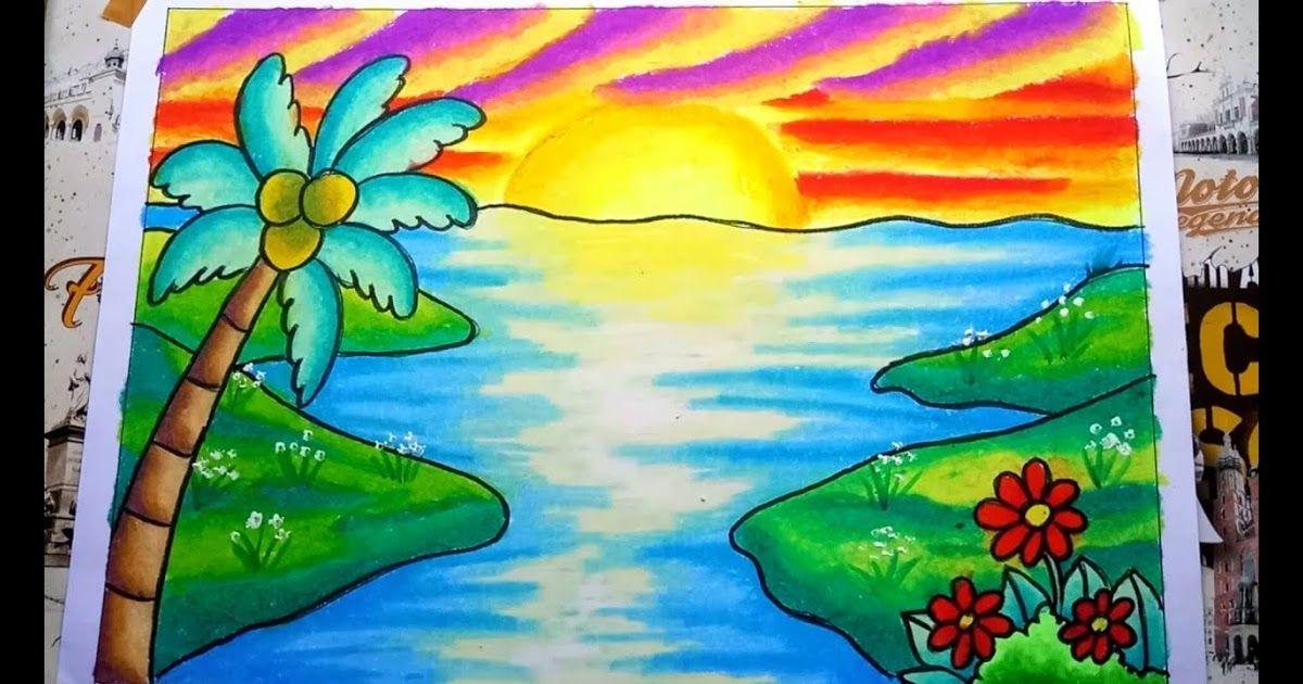 11 Gambar Pemandangan Crayon Cara Menggambar Dan Mewarnai Pemandangan Sunset Dan Pantai Drawing Sunset Scenery Gradasi Cara Menggambar Painting Gambar Kartun