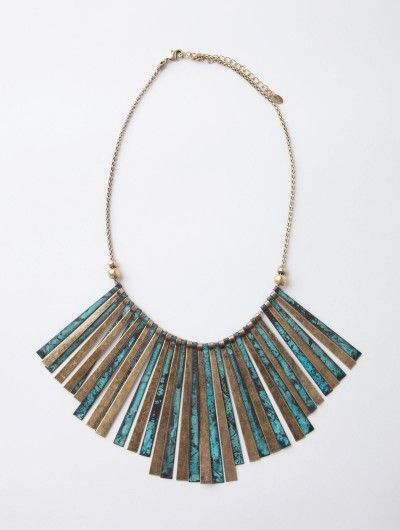 antiqued brass tribal necklace