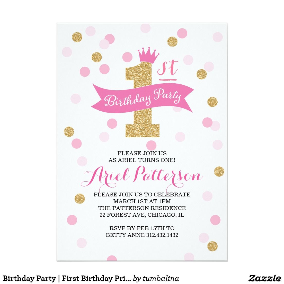 Birthday Party | First Birthday Princess 5x7 Paper Invitation Card ...