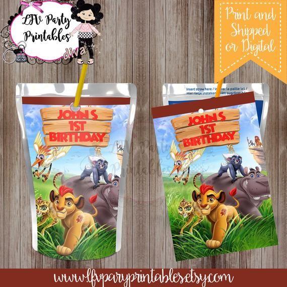 The Lion Guard Party Juice Pouch Labels, Capri Sun Labels