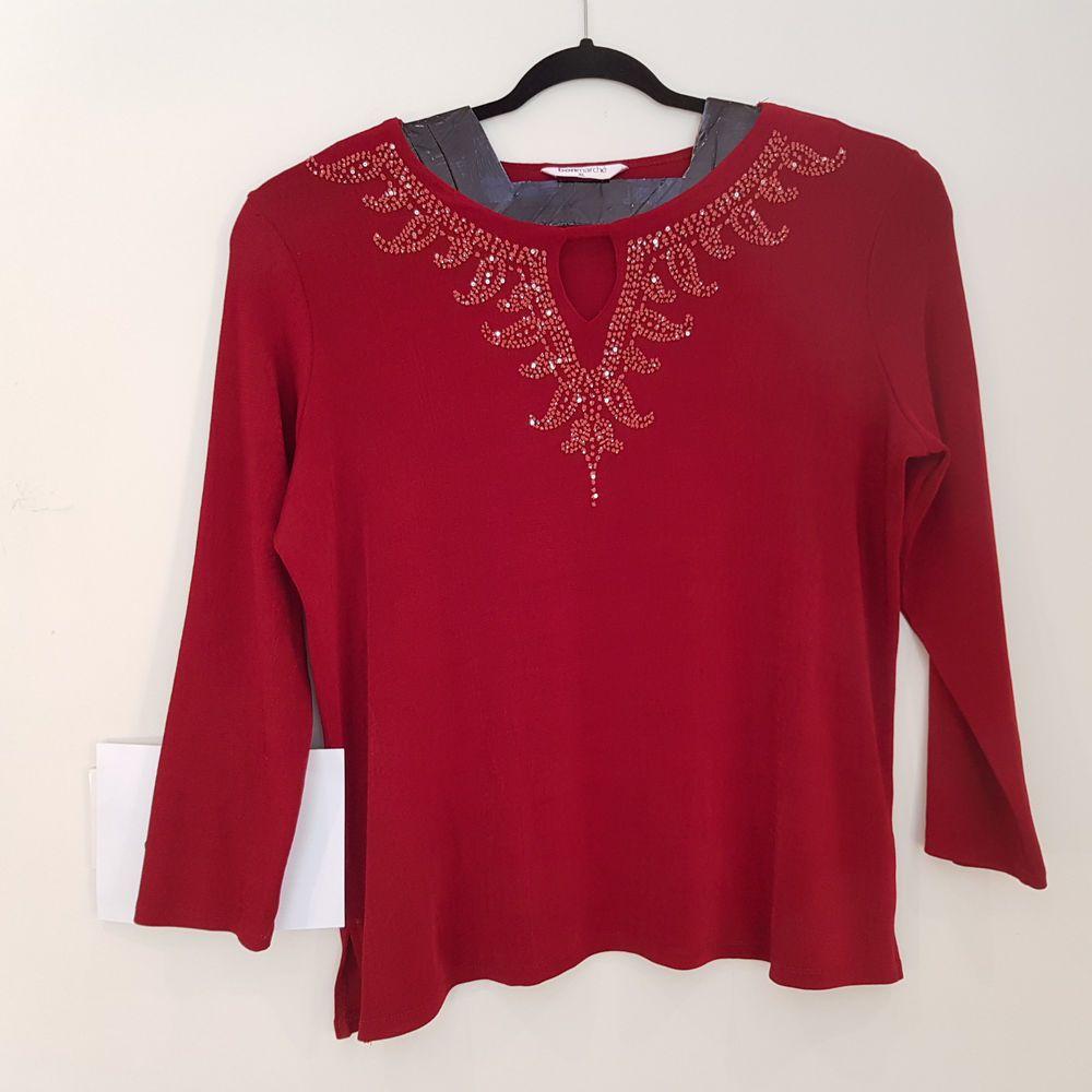 df4c020d1e5 JA 36 BONMARCHE Top Red Plus Size XL Long Sleeve Sequins Autumn Office Work  VGC  fashion  clothing  shoes  accessories  womensclothing  tops (ebay link)