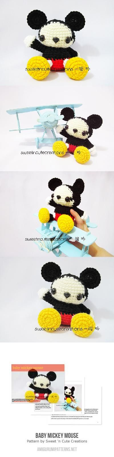 Baby Mickey Mouse amigurumi pattern by Sweet N\' Cute Creations