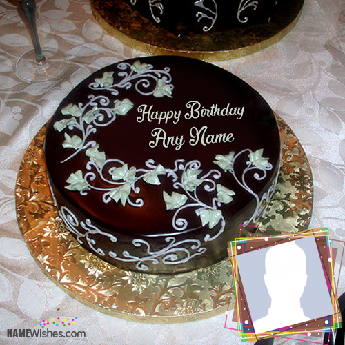 Floral Chocolate Birthday Cake With Name Birthday Cakes With Name