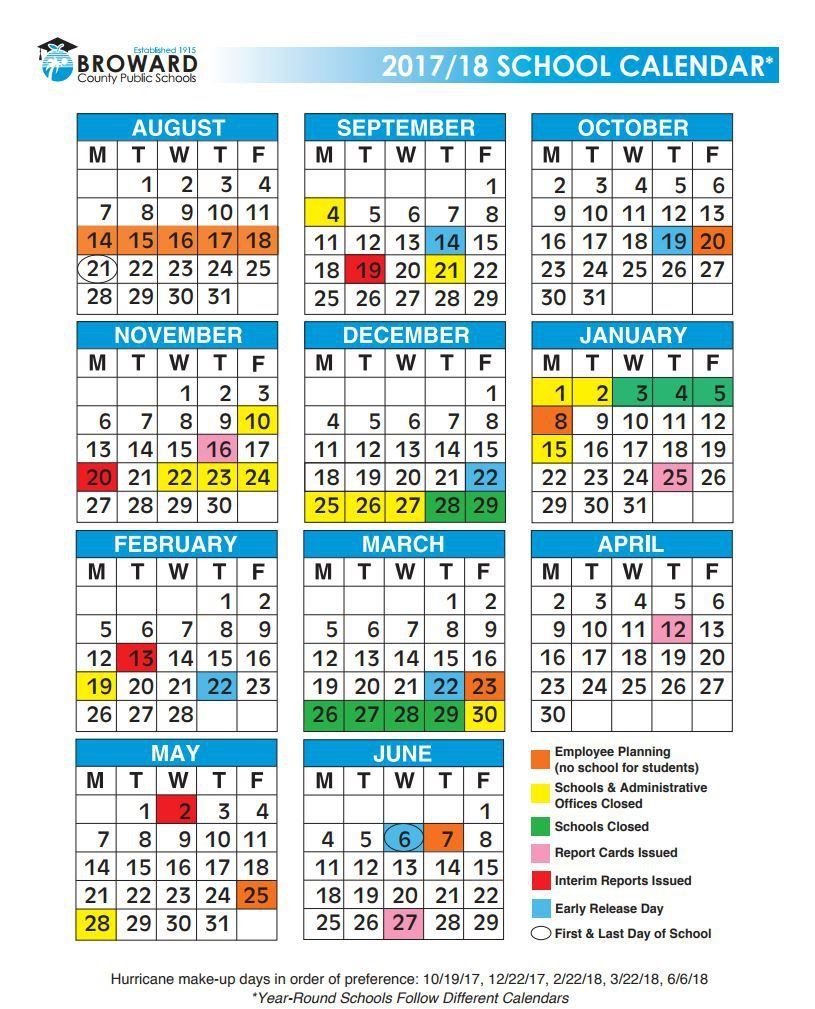 broward school calendar 2018 printable calendar template