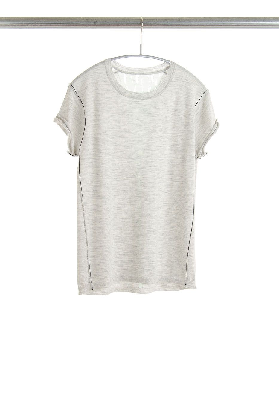 S96 Baby Tee, Dove Grey, 100% Fine Worsted Mongolian Cashmere | Paychi Guh