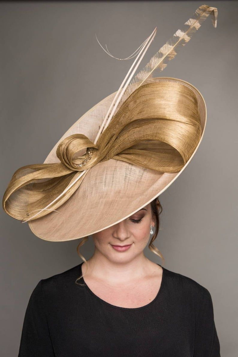 Blush And Champagne Gold Mother Of The Bride Hat Ascot Etsy In 2021 Classy Hats Mother Of The Bride Hats Elegant Hats