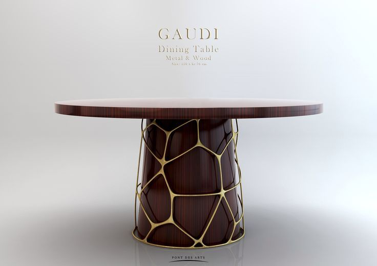 Couchtisch Depot Gaudi Dining Table - Wood And Bronze - Pont Des Arts