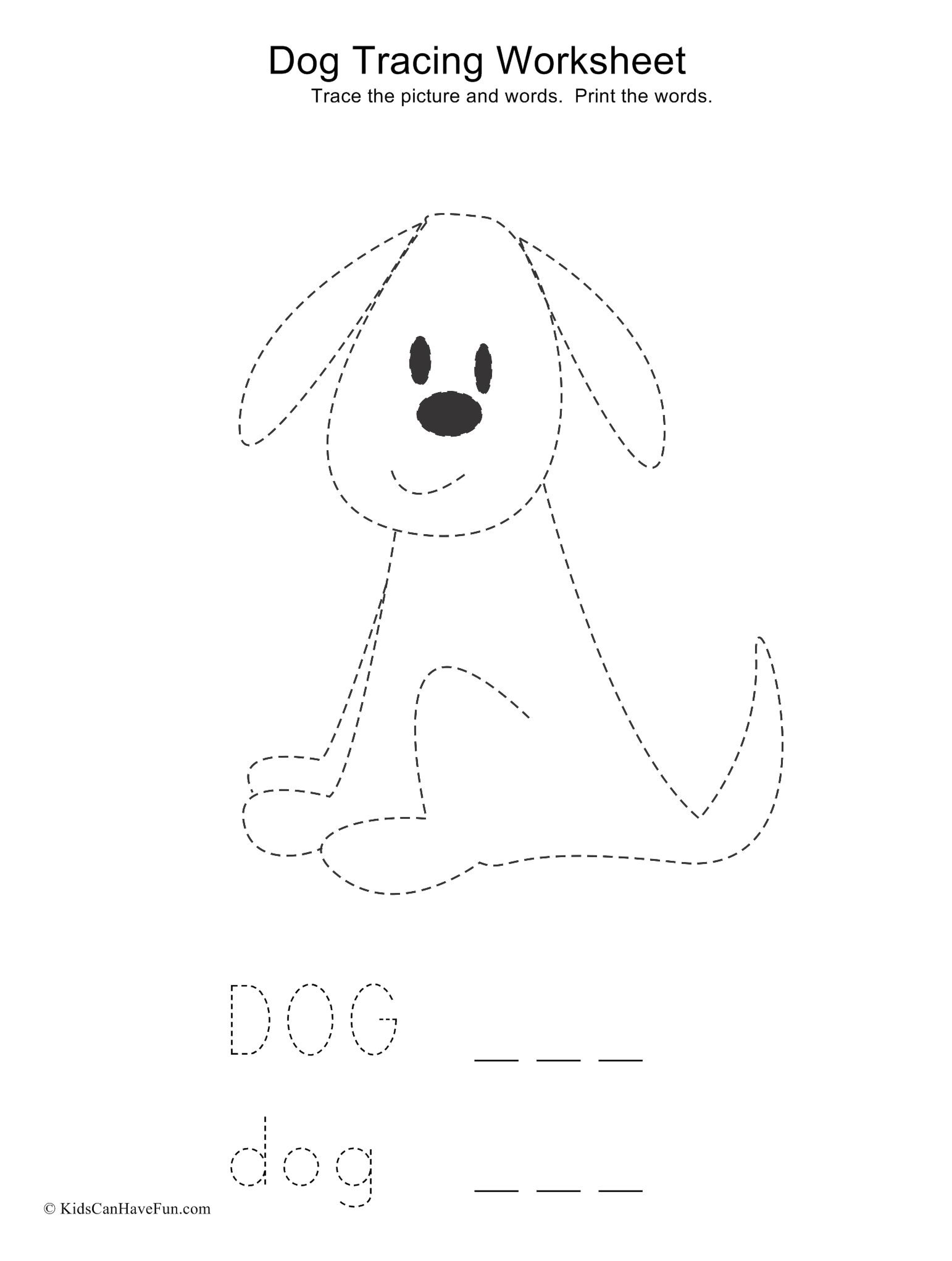 Trace The Sitting Dog And Words In