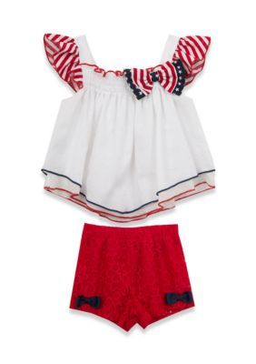 Rare Editions  2-Piece Top And Short Set - White - 6 - 9 Months