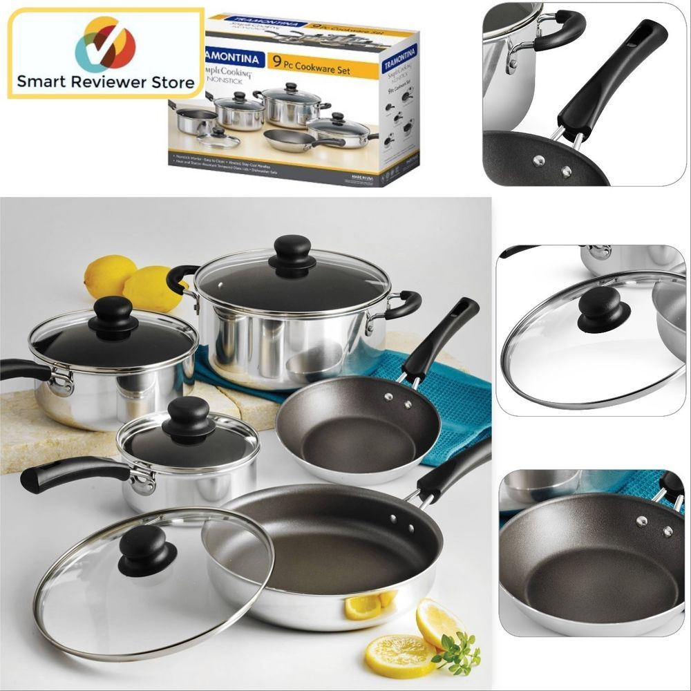 kitchen pots swing door cookware set nonstick 9 piece and pans cooking polished colored tramontina