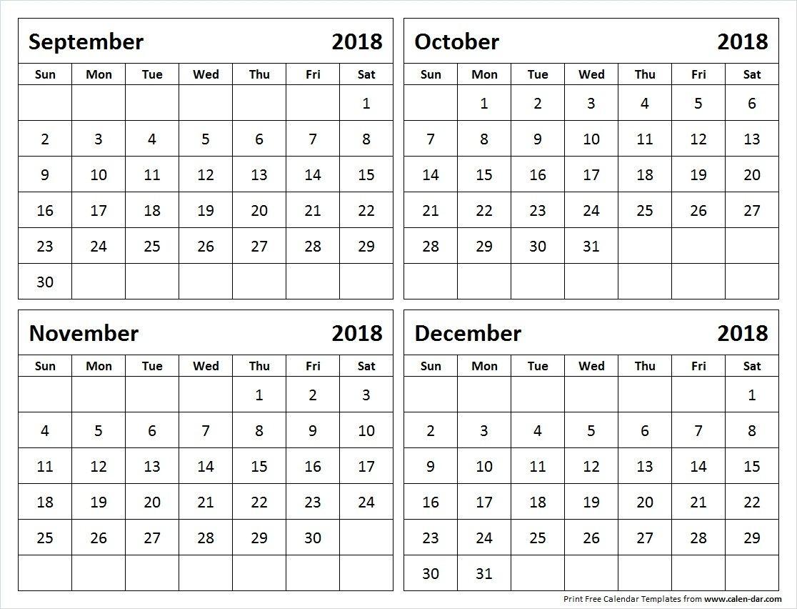 September Through December 2018 Calendar Yeniscale Co September