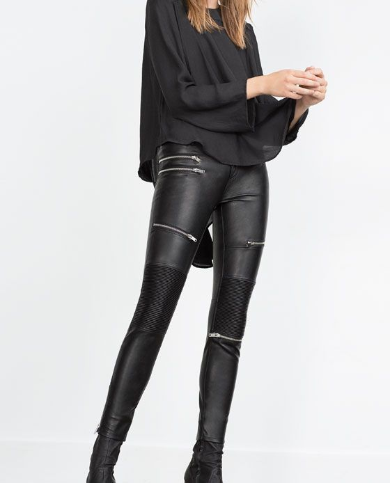 FAUX LEATHER BIKER TROUSERS from Zara   ZARA   Pinterest   Trousers ... 0fe3b6a9b9