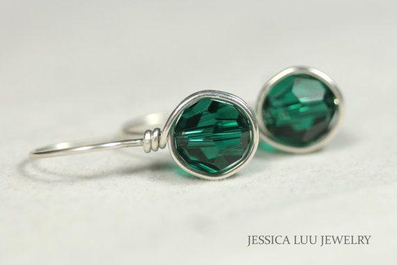 Emerald Green Swarovski Crystal Earrings Wire by JessicaLuuJewelry