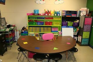 Teacher Table- assigned seats with shapes and colors rather than names