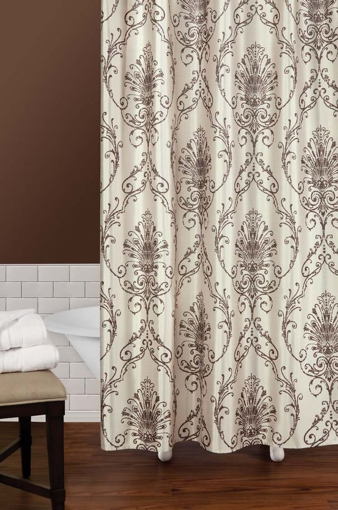 Capello Natural Tan Cream Brown Damask Shower Curtain NEW Scroll Fleur De Lis