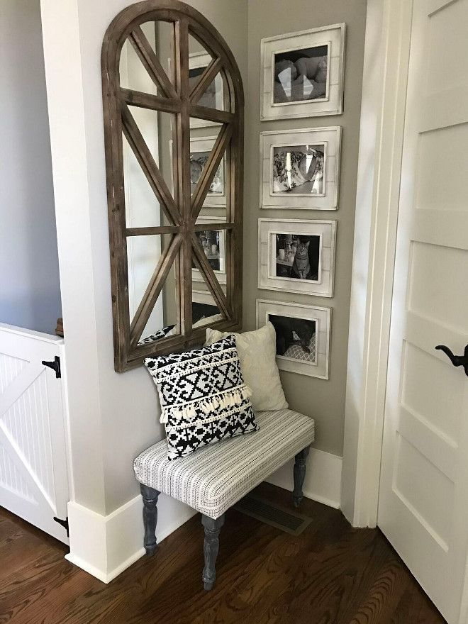 That mirror though! MH Amazing Gray. Sherwin Williams SW 7044 Amazing Gray. Sherwin Williams SW 7044 Amazing Gray Paint Color #SherwinWilliamsSW7044AmazingGray Home Bunch Beautiful Homes of Instagram @mygeorgiahouse #floatingshelves