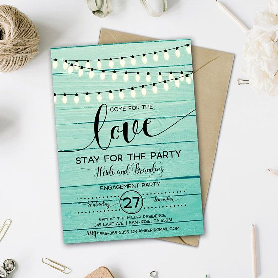 Engagement Invitation String Lights Turquoise Engagement Party - engagement invite templates