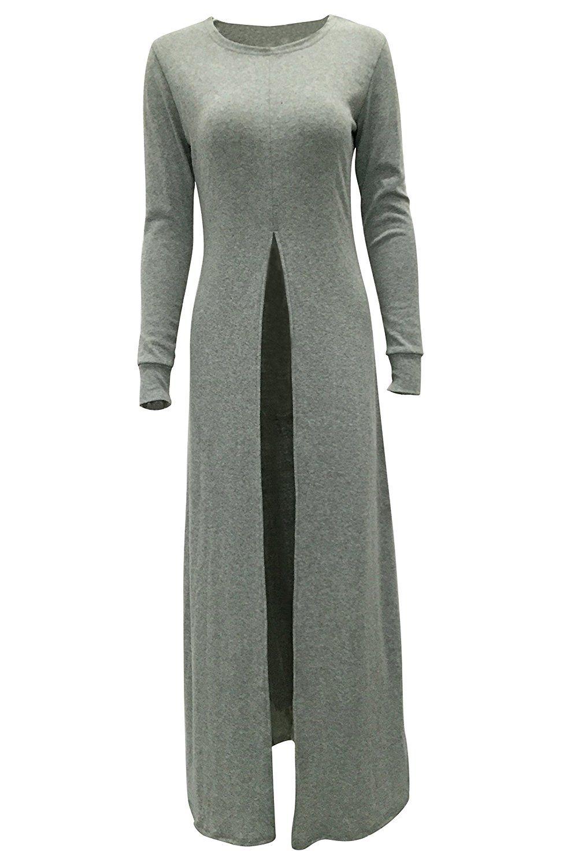 Arciton womenus long sleeve high front split long maxi dress tops at