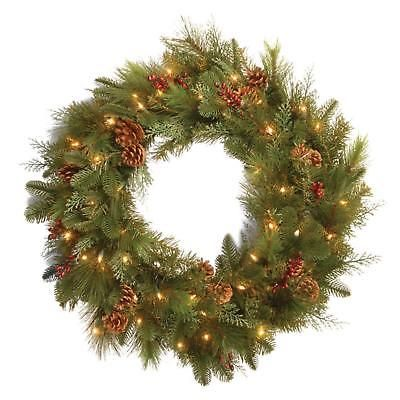 Pre Lit Wreath Noble Mixed 30in Battery Operated Artificial Red Berries Cones Artificial Christmas Wreaths Outdoor Christmas Wreaths Pre Lit Wreath