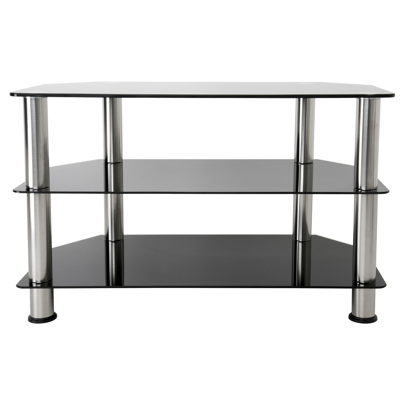 42 Tv Stand With Glass Shelves Silver Black Tv Stand With