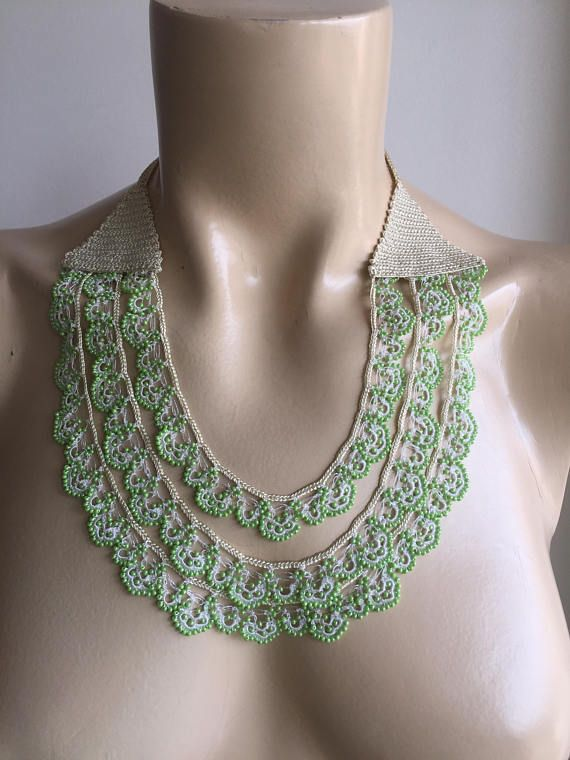 Beaded Crochet Necklace-Apple Green Necklace–Wedding Necklace-Light Green Necklace