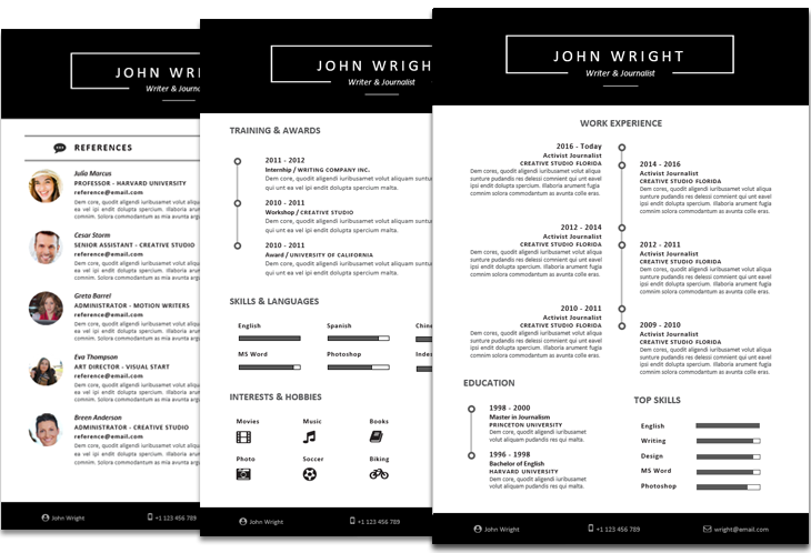 John Wright Resume Template Timeline Instant Download File Format Microsoft Word Docx Layout Resume Template Resume Templates Creative Resume Templates