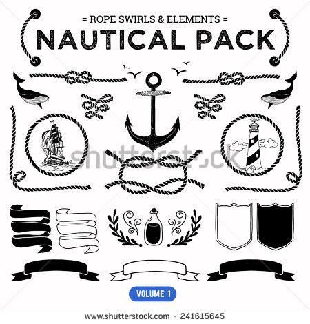 Vector Pack Of Nautical Elements Rope Swirls Logos And Badges