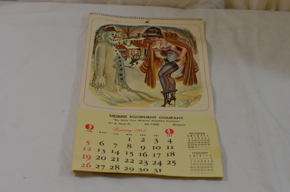 Morris Equipment Company 1964 Vintage Rique Calendar Pin Up Art by McCartney