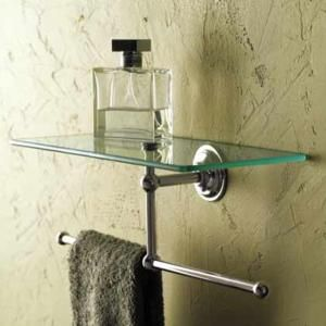 Ginger Motiv London Terrace 12 Inch Shelf With Towel Bar Glass Bathroom Towel Bar Glass Shelves