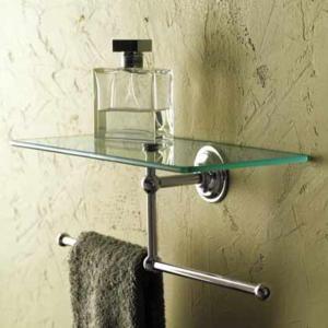 Ginger Motiv London Terrace 12 Inch Shelf With Towel Bar Glass Bathroom Towel Bar Glass Shelves