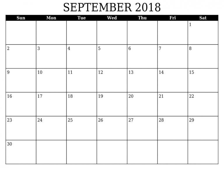 September Calendar 2018 Word Template September 2018 Calendar
