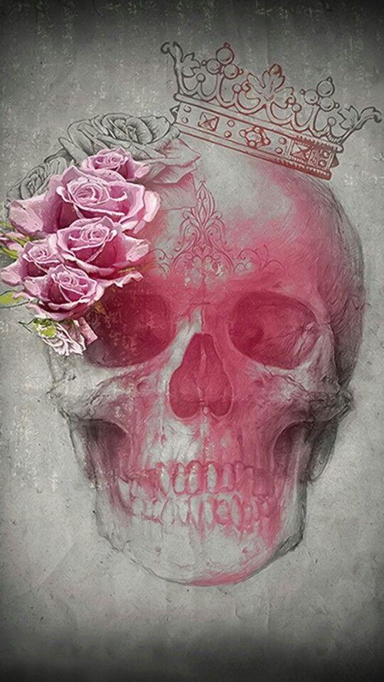 Skull With Pink Roses And Crown Sugar Skulls Skull Rose