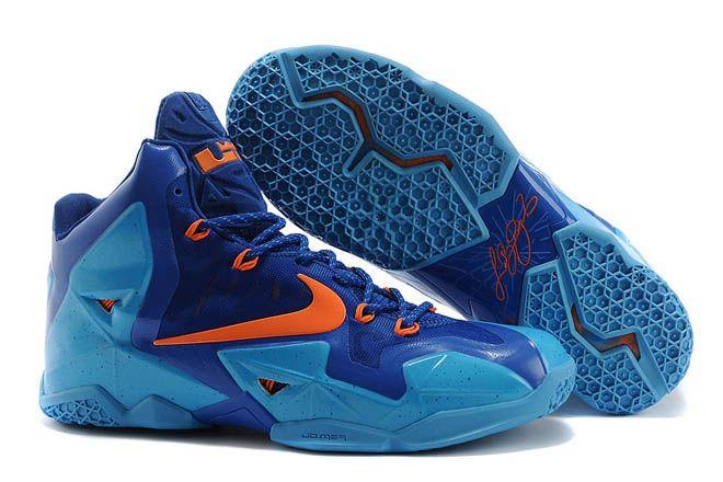cb388cc9cfe Men Size Nike NBA LeBron James 11 Gamma Blue Orange and Royal Blue Training  Shoes