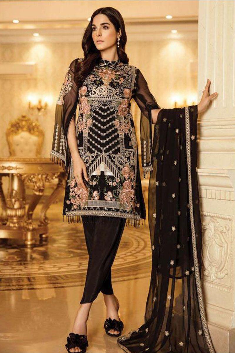 Black Event Wear Embroidery Georgette Pakistani Suit 54005 91983 Pakistani Dress Design Pakistani Dresses Stylish Dress Designs [ 1200 x 800 Pixel ]
